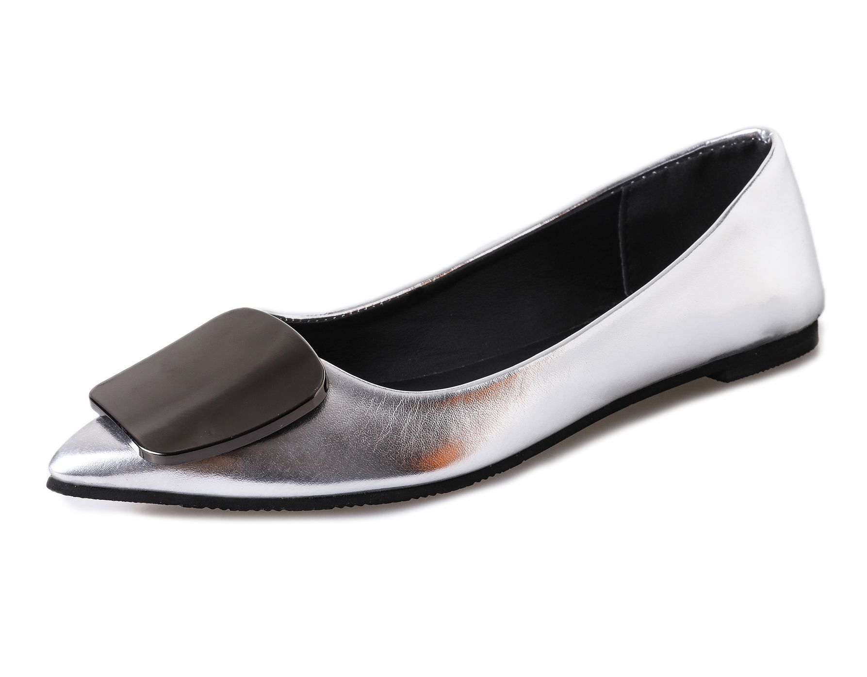 Luxury Brand Shoes Women 2017 New Pointed Toe Flats Fashion Metal Decoration Ballet Flat Shoes Ballerines Femme Chaussures spring autumn solid metal decoration flats shoes fashion women flock pointed toe buckle strap ballet flats size 35 40 k257