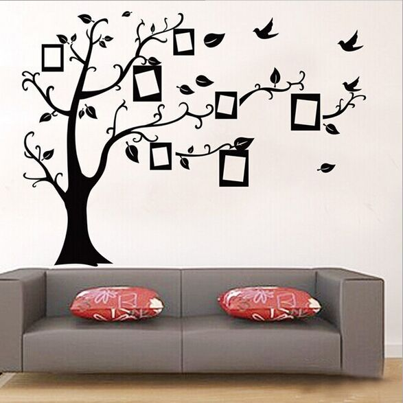 1set Large Size 90120cm Black Color Family Tree Sticker Wall Decal