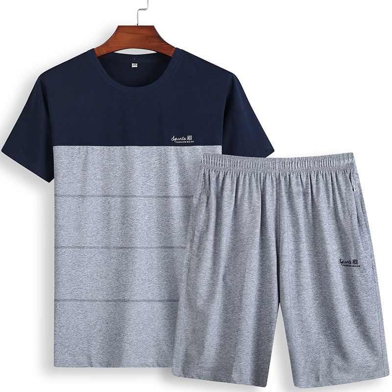 Летние большие размеры тонкий срез с короткими рукавами жира свободная футболка в стиле кэжуал жира Шорты плюс fertilizer XL спортивные костюмы мужской