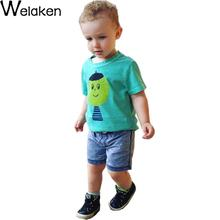 New Arrival 2016 Kids T Shirts Short Sleeve Cotton Clown Man Print 1-6Y Children Vest Tee Green Fashion Girls Boys T-Shirt