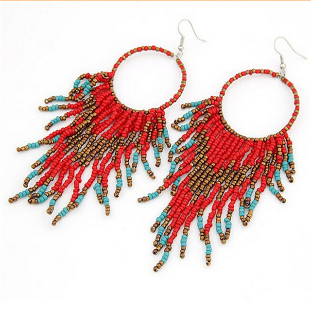 Free 1pair Native American Style Beaded Earrings Fringe Long Beads Chandelier