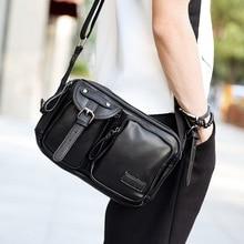 Men Pu Leather Black Shoulder Bag Small Messenger Bags Vintage Man Fashion Travel Crossbody Flap Handbags недорого