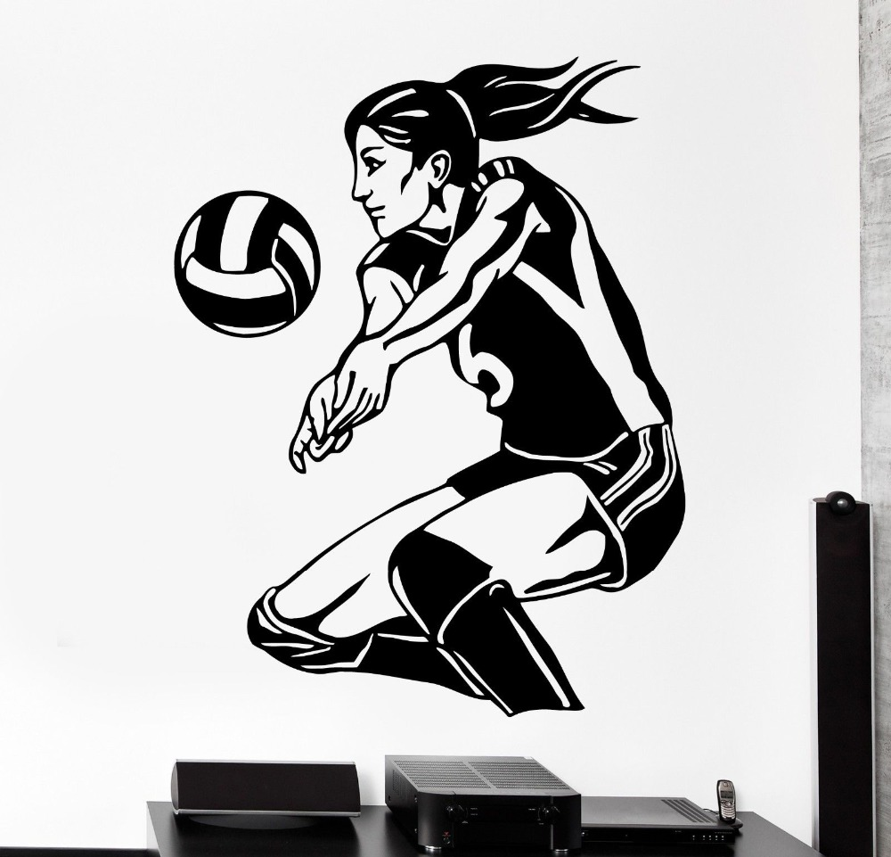 Free shipping womens volleyball vinyl wall stickers living room bedroom mural art of home decoration wall decals sports Y-42