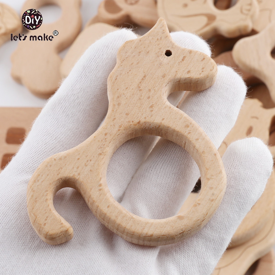 Let's Make Baby Teether Animal Beech Wood Rings 10PCS Bird Unicorn  DIY Accessories  Teething Toys Baby Products Wooden Teethers