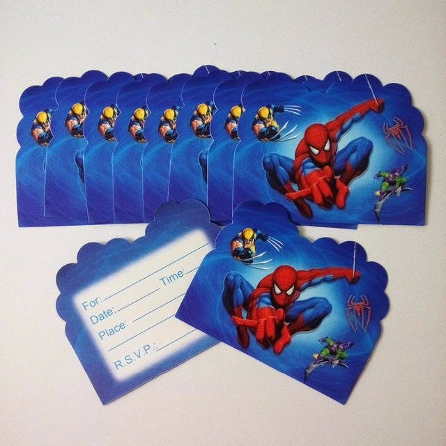 10pcs Spiderman Invitation Cards For Boy Kids Birthday Decoration