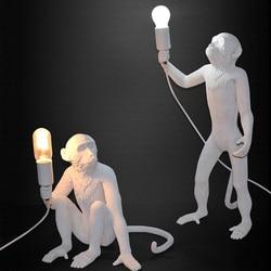 Nowoczesne Gorilla wisiorek światła mediolan konstrukcja żywicy małpa Loft sznurek z konopi w stylu vintage lampa wisząca do oświetlenia domu Bar Cafe Retro w Wiszące lampki od Lampy i oświetlenie na