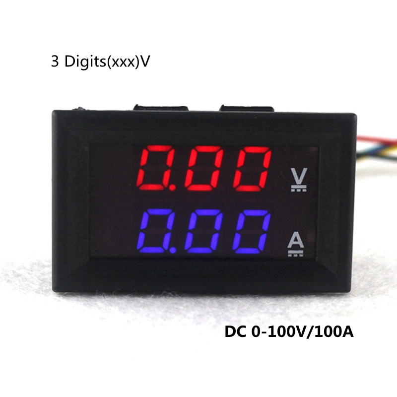 Car Voltmeter Red Blue LED DC 0-100V / 10A 50A 100A Digital Amp Volt Meter Gauge Motorcycle Ammeter Voltmeter 3 in 1 multifunctional car digital voltmeter usb car charger led battery dc voltmeter thermometer temperature meter sensor
