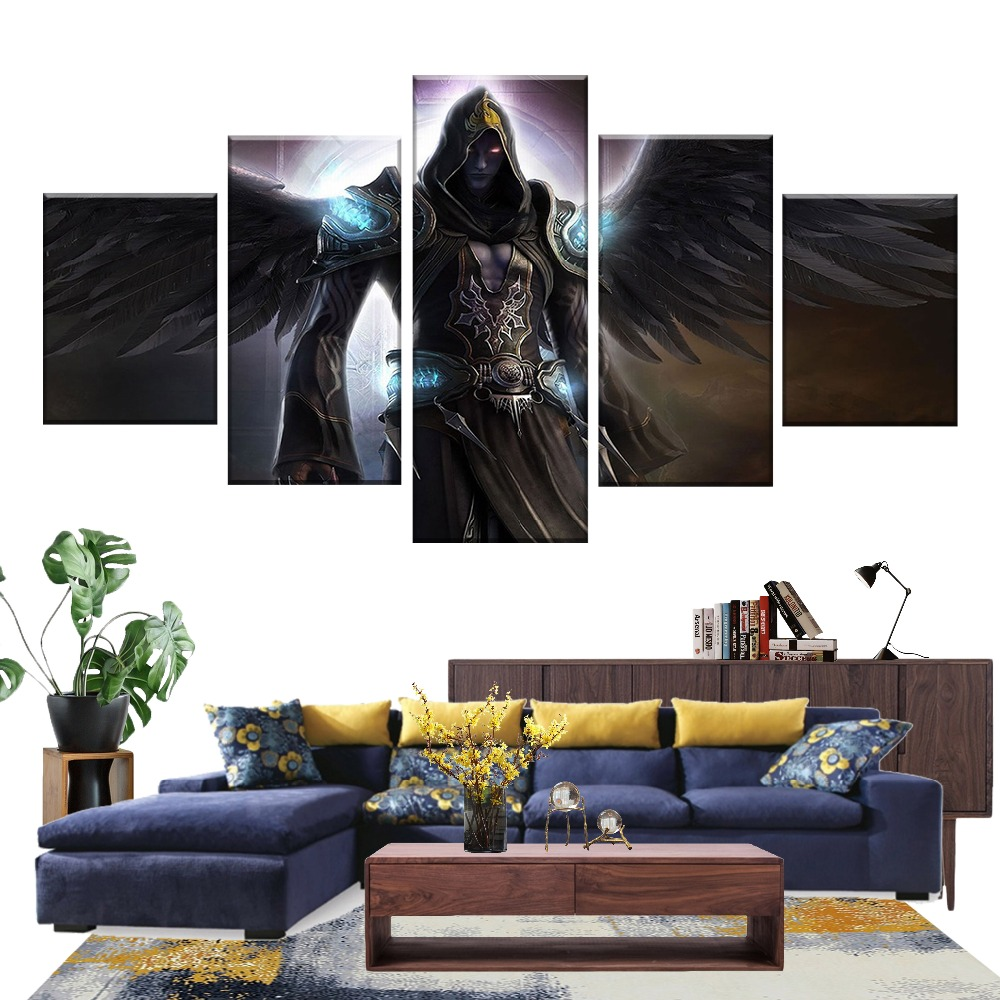 US $5.13 50% OFF|5 Piece Video Game Poster Printed Fallen Angel Pictures  Canvas Wall Painting for Bedroom Decor-in Painting & Calligraphy from Home  & ...
