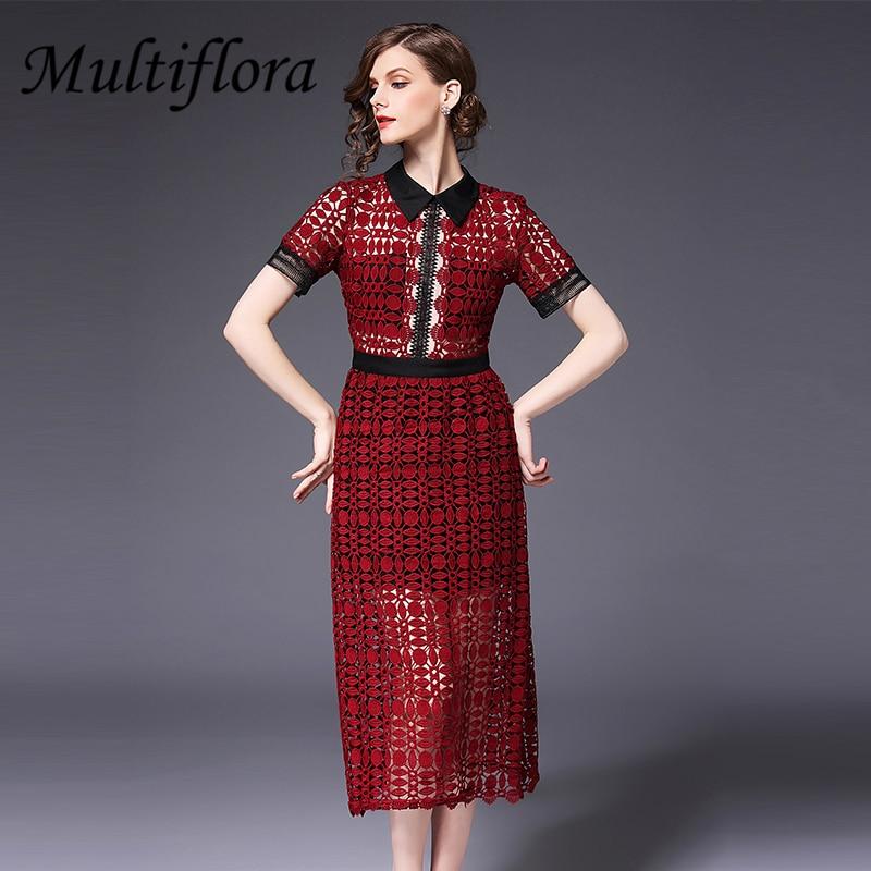 d781b9d3cbc31 Multiflora-Rouge-Couleur-Femmes-robe-de-Dentelle -Mi-longueur-revers-Droite-manches-courtes-Patchwork-robe.jpg