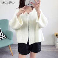 2018 New Fashion Faux Mink Cashmere Sweater Cardigan Coats Long Sleeve Shawl Thin Coat Outerwear Knitted Cashmere Cardigan White