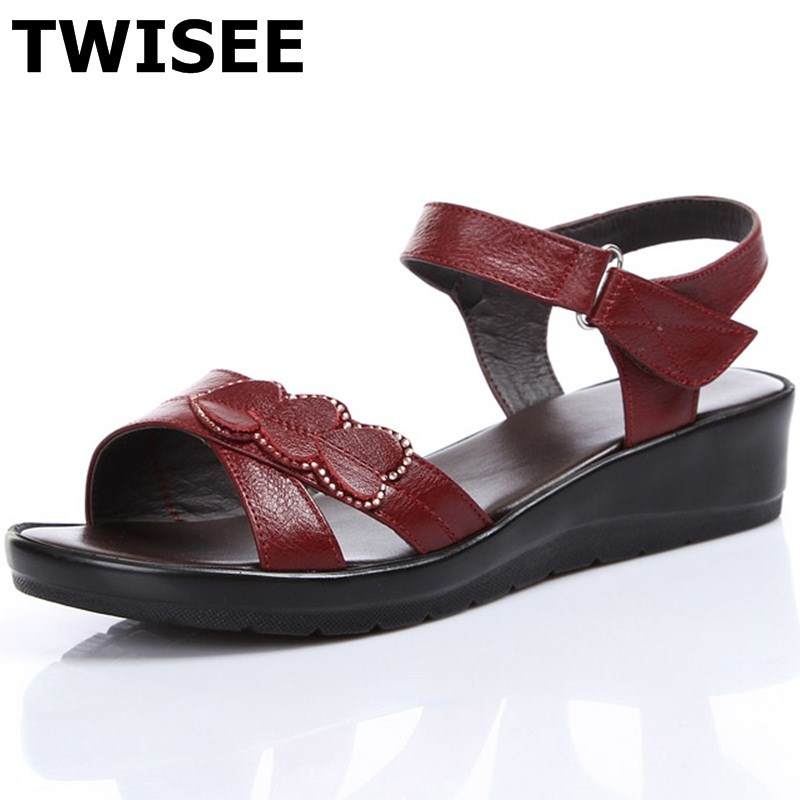 ФОТО Solid Buckle Strap Casual Comfortable Cow Leather Bonded Leather Wedges summer sandals ladies women shoes sandals