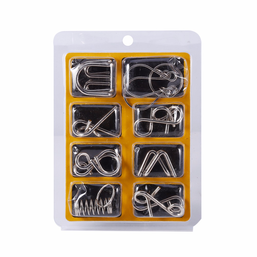 New 8Pcs Metal Wire IQ Test Mind Puzzles Brain Teaser Toys Magic Game For Adult & Children Toys Trick Toy Educational Toy metal puzzle iq mind brain game teaser square educational toy gift for children adult kid game toy