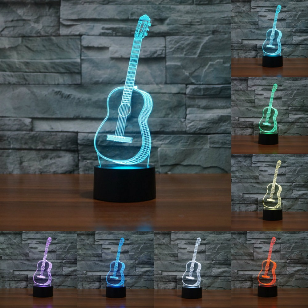 Creative 3D Visual Ukulele guitar Model Illusion Lamp LED 7 Color changing Novelty Bedroom Night Light Music Home decor IY803358 amazing music lights
