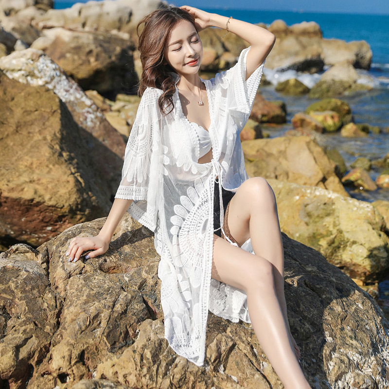 4440c3298d197 Women Beach Wear Dress Crochet Bikini beach Cover Up Swimwear Swimsuit  saida de praia Lace Embroidery Transparent Cover Ups