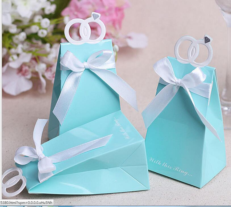 Casamento 500pcs Blue Diamond Ring Wedding Favor Boxes Wedding Candy Box Wedding Favors And Gifts Event