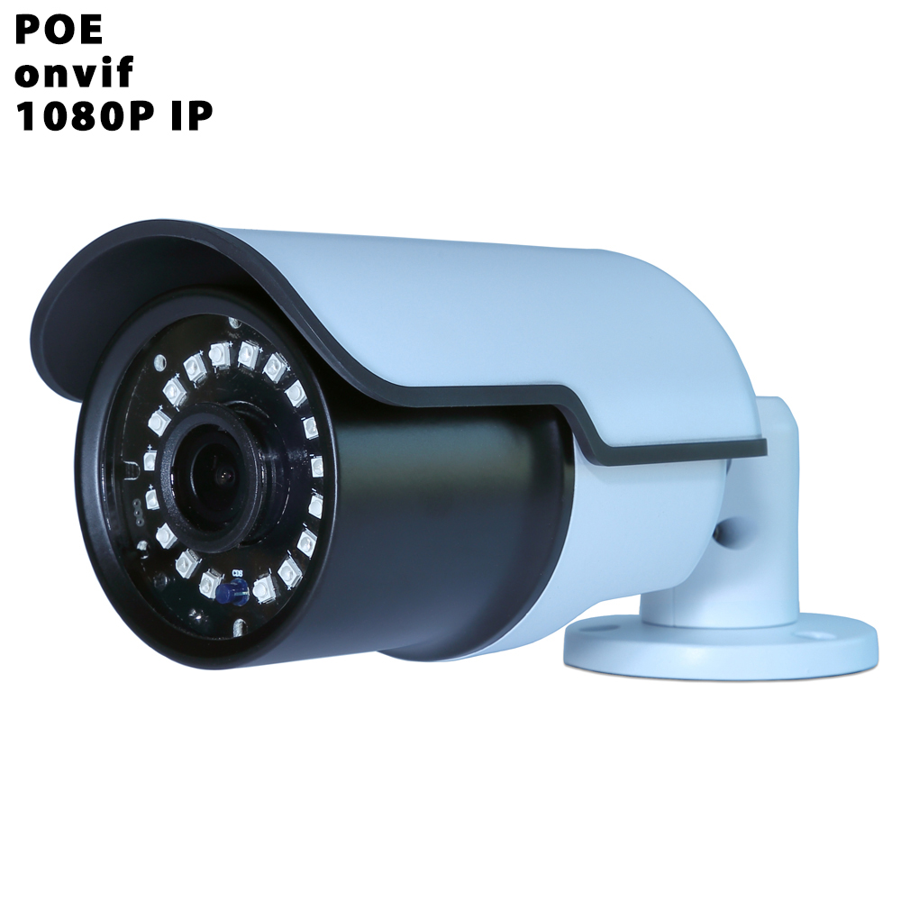 1080P IP camera waterproof IR bullet outdoor POE outdoor waterproof white metal case 1080p bullet poe ip camera with ir led for day