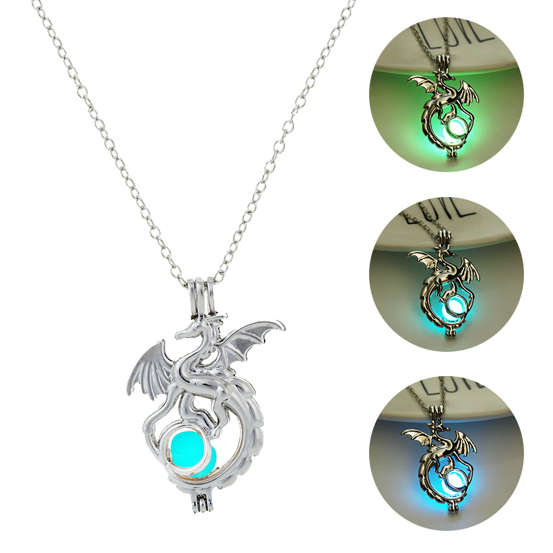 2019 Fashion Dragon Glowing Stone Necklace Women Man Glow in the Dark Pendant Necklace Movies TV Luminous Decoration Jewellery(China)