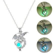 Colar com pingente de dragão brilhante, colar feminino com pedra brilhante no escuro, decoração luminosa para tv, 2019