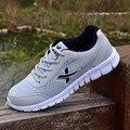 2016 Nuevos de Malla Transpirable Ligero Zapatos Casuales Para Hombre Adulto Casuals Zapato Zapatos de los hombres Negro Azul Gris Verde Más El Tamaño 39-46 B155