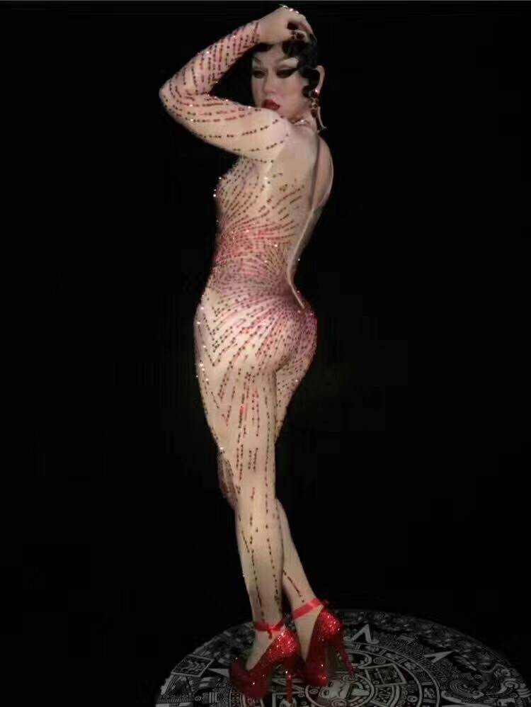 Costume Barboteuses Salopette Femelle Strass Chanteur Outfit Rouge Dj Célébrer Porter De Femmes Sexy Bling Anniversaire Stade Body Jumpsuit Usure xq0wptnFZI