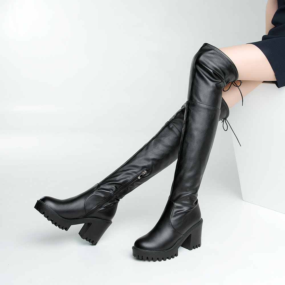 Ladies Pu Leather Over the Knee Boots Thick Heel Thigh Boots Platform Zipper Winter Fashion Women Shoes Black Drop Shipping