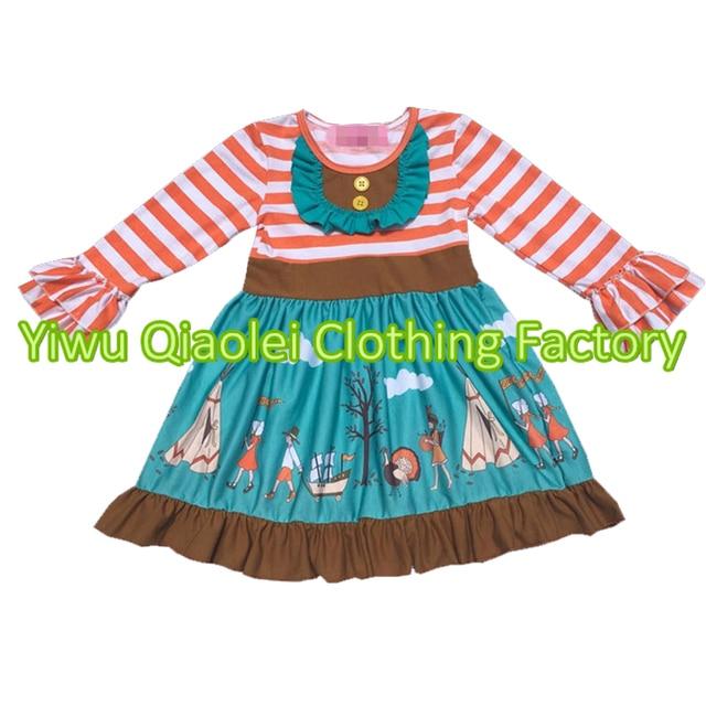 Thanksgiving children girls boutique outfits kids ruffle stripe ...