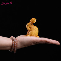 JIA GUI LUO Boxwood carving crafts home decoration animal rabbit birthday gift girl A034