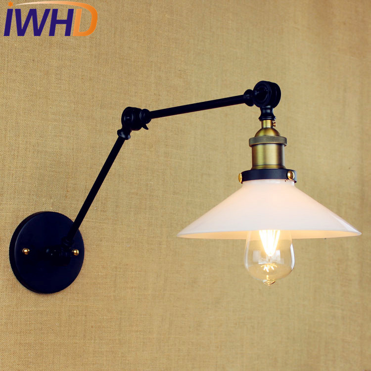 IWHD Glass Swing Long Arm Wall Light Vintage Wandlamp Loft Industrial Wall Lamp Edison Sconce Lamparas Appliques Pared glass arm long light retro wooden wall lights led edison style loft industrial wall sconce vintage wandlamp appliques pared