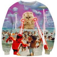 Cloudstyle 2019 drôle Animal 3D Sweatshirts hommes à manches longues Laser chat Pizza chat impression mode pull Harajuku haut