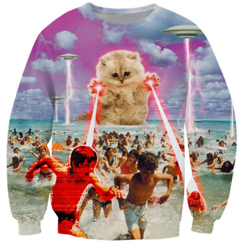 Cloudstyle 2020 Funny Animal 3D Sweatshirts Men Longsleeve Laser Cat Pizza Cat Print Fashion Pullover Harajuku Streetwear Tops