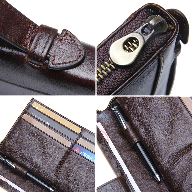 Contact's Cow Leather Men Casual Clutch Wallet Card Holder Zipper Purse With Passport Holder Phone Case For Male Long Wallet 5
