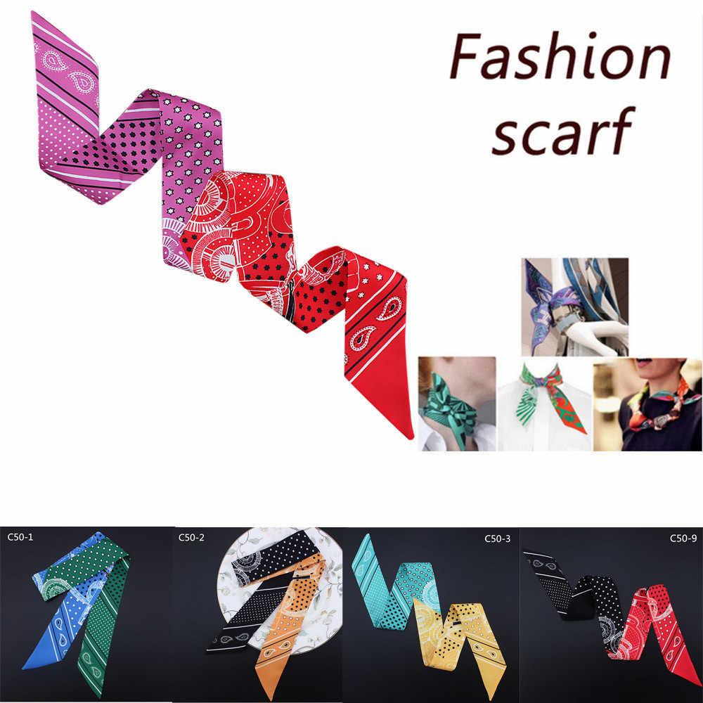 Модные женские шарфы сумка с лентой шляпа оголовье связали ручки небольшой шарф Высокое качество шелк сегмент шейный платок Изысканная шаль
