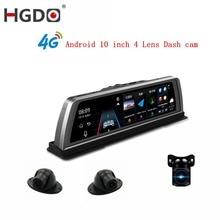 HGDO 10 4G Car DVR 2+32GB 4CH Cameras Android 5.1 Octa Core Video Recorder ADAS GPS Auto Registrar Night Vision Dash Cam