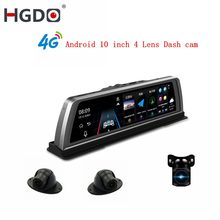 "HGDO 10"" 4G Car DVR 2+32GB 4CH Cameras Android 5.1 Octa Core Video Recorder ADAS GPS Auto Registrar Night Vision Dash Cam(China)"