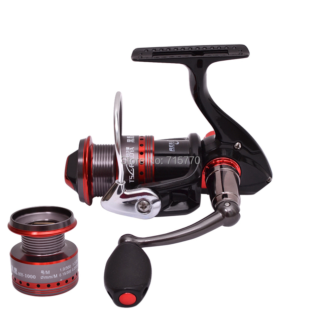Trulinoya Ultra Light Spinning Fishing Reel Black Hawk HY1000 Two Aluminum Spools 10 Ball Bearings