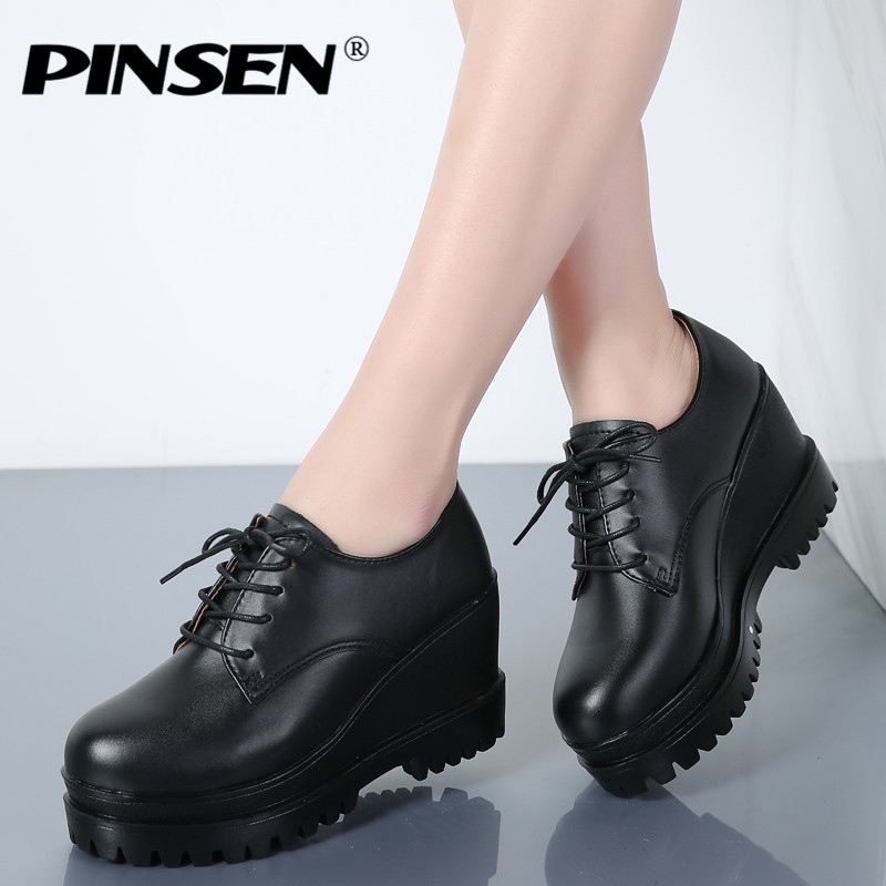 PINSEN Spring Autumn Flats Oxfords Shoes Woman Genuine Leather Lace Up Heighten Shoes Female Casual Creepers Heels Ladies Shoes women oxfords flats shoes leather lace up platform shoes woman 2016 brand fashion female casual white creepers shoes ladies 801