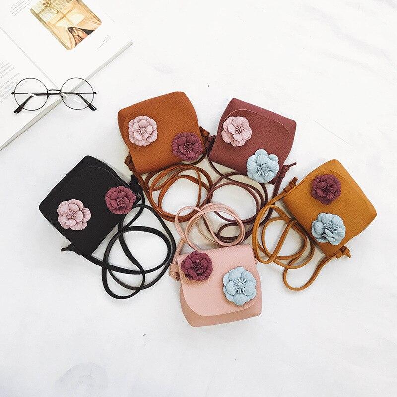 Mode Kinder Geldbörse Nette Blume Abdeckung Mädchen Umhängetasche Pu Leder Mini Zubehör Tasche Baby Helle Farbige Taschen