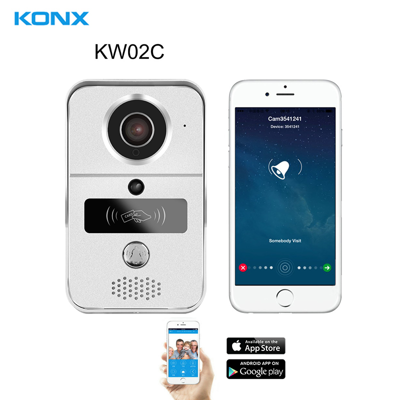KONX KW02C 720P H.264 Smart WiFi Video Door Phone intercom Doorbell Wireless Unlock IR CUT Night Vision Motion Decetion Alarm glow in the dark saw skull head style mask transparent