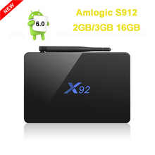 2 GB 16 GB 3 GB/16 GB Amlogic X92 S912 Android 6.0 TV Box Octa Core Kodi 16.1 a Plena Carga 5G Wifi 4 K H.265 X92 Smart Set Top caja