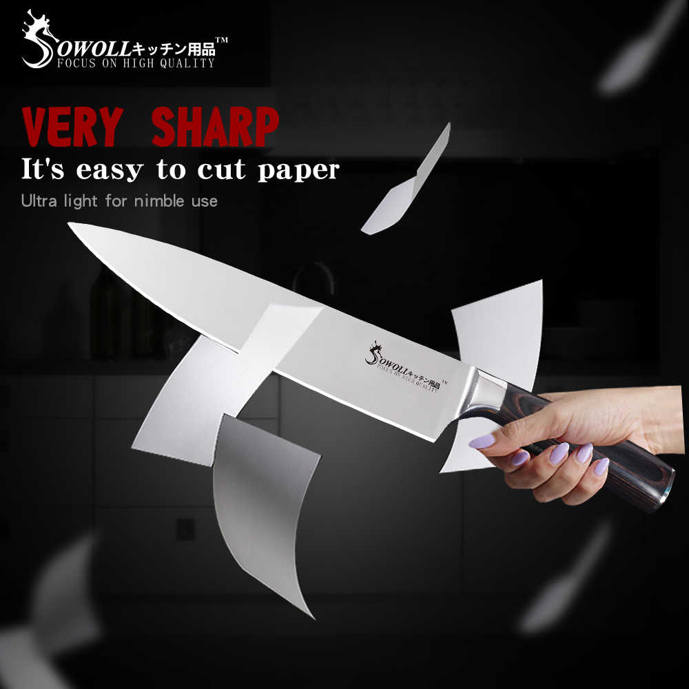 Sowoll 6 pcs נירוסטה מטבח סכין סט גבוהה פחמן חד להב לייזר להב שף חיתוך Santoku שירות קילוף סכין