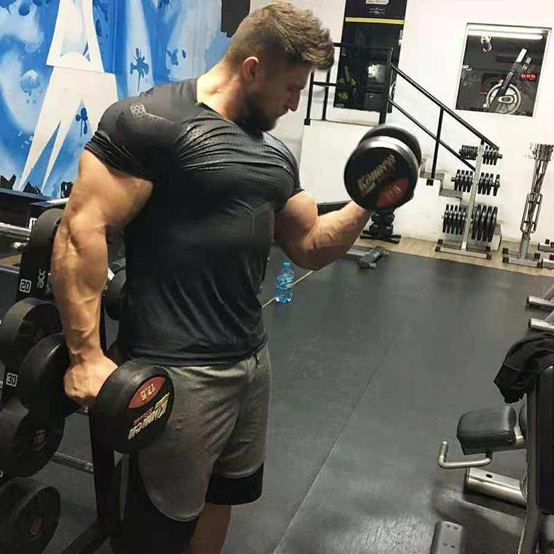 Camiseta de secado rápido de compresión para hombre, Camiseta corta ajustada para correr, deporte, gimnasio, Fitness, entrenamiento, camiseta negra, ropa