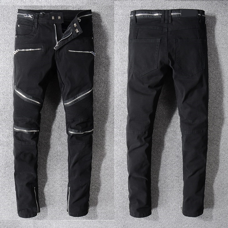 New France Style #1071# Men's Embellished Ribbed Stretch ZIppers Pants Washed Black Denim Biker Jeans Slim Trousers Size 29-42