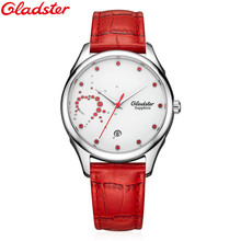 Gladster Watch Fashion Women Watches Top Luxury Brand Red Leather Strap Females Quartz Clock Ladies Wristwatch Montre Femme 2016