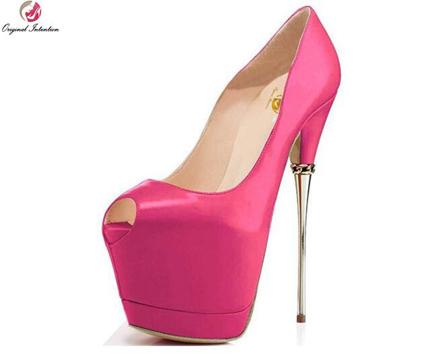 Original Intention Sexy Women Pumps Peep Toe Half Stiletto Metal ...