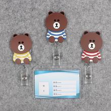 Badge Scroll Nurse Reel Bear Transparent PVC Character Scalable Colors Little Girls Exhibition ID Plastic Doctor CardHolder