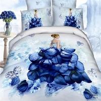 Beautiful Bride Blue Roses Unique Wedding Bedding Set Queen&King Size 100% Cotton Home Textile Duvet Cover Bed Sheets Pillowcase