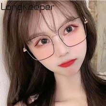LongKeeper Fashion Anti-blue Light Glasses Frame Woman Brand Designer Men Big Square Clear Lens Eyeglasses Spectacles