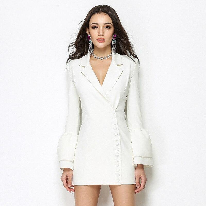 Noir Manches De Boutons Unique Nouvelle Mini Bureau Qualité Femmes Poitrine Haute blanc Entaillé Col Robe Papillon Mode 2019 Printemps iuXOZPk