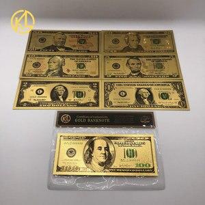 7 шт./компл. 24K позолоченные долларов античное покрытие высокое качество памятные нотки сувенир домашнее украшение реалистичные банкноты