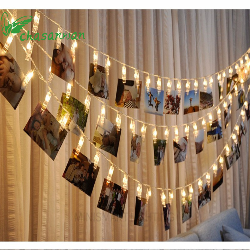 CHASANWAN 1 M 10 Lamp Photo Clip LED Battery Box LED Strip Light Christmas Decorations For Home New Year Decoration Natal.